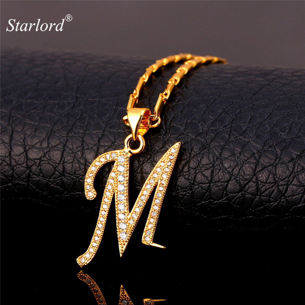 Starlord Initial M Letter Pendants & Necklaces For Women Men Personalized Gift Alphabet Jewelry Gold Color
