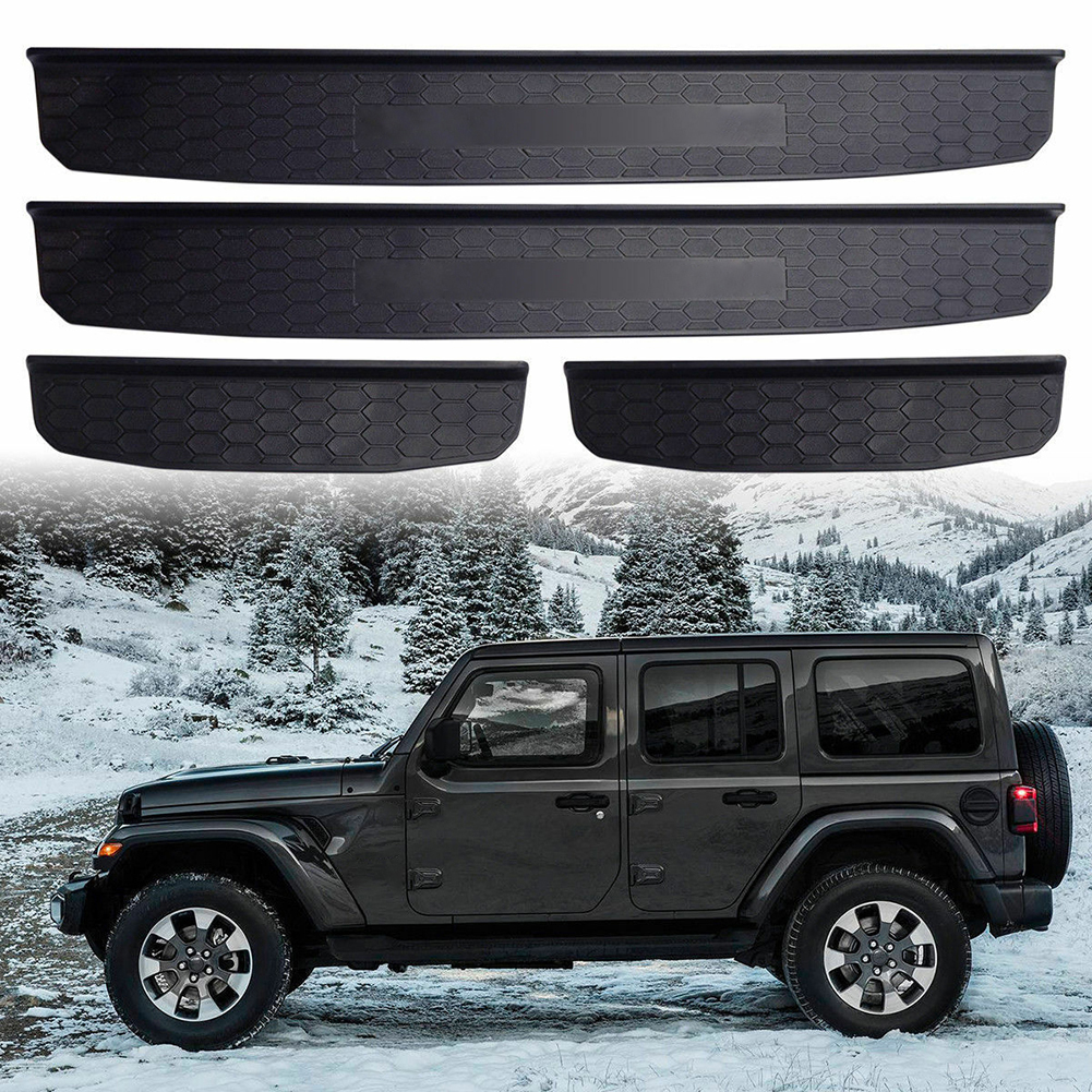Door Sills Step Protector Stickers Trim Interior Decor Sill Scuff Plate Entry Guard For 2018 Jeep Wrangler JL 4 Door Honeycomb|  - title=