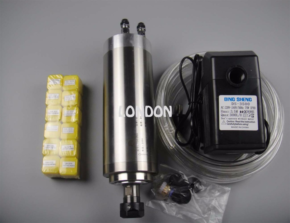 цена  CNC spindle kit ER20 2.2KW water cooling spindle +1 water pump+1 water pipe+ER20 collets  онлайн в 2017 году