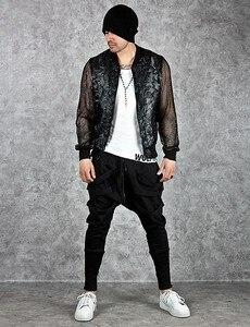 Image 2 - Calças harém masculinas, calças hip hop estilo baggy, cruzadas, tendência, preta, fita, streetwear, casual, para corrida