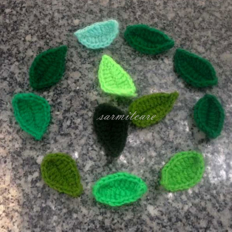 4.3 * 2.3cm Crochet Leaves Handmade DIY Flowers Sewing Trim Clothing Accessories DIY Webbing Tape Webbing Strap Mixed Colors