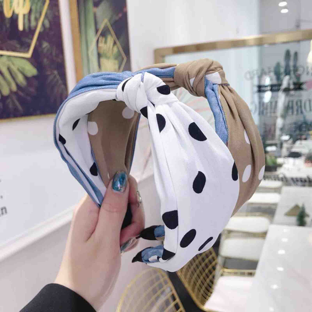 New Fashion Wide Side Hair Accessories Two Colors Patchwork Point Hairband High Elastic Hair Band Women Soft Adult Headwear