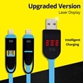 Upgraded Version 2 in 1 Digital intelligent LCD Laser Display Micro USB Lighting Data Charging Cable,Voltage Current Cable Cord
