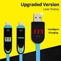 Versão atualizada 2 em 1 digital display lcd inteligente laser iluminação micro usb dados cabo de carregamento, cabo de tensão atual