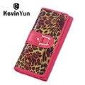 KEVIN YUN Fashion Leopard Genuine Leather Women Wallets Long Designer Female Purse Clutch Bags Carteira Feminina
