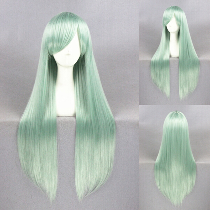 Mint Green Long Silky Straight Blue Ombre Mixed Color ... |Mint Hair Wig