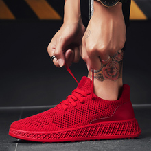 Hot Sale 2018 New Casual Shoes Men's Summer Breathable Lightweight Mesh Hollow Leisure Shoes With High Quality Size 39-44 Red