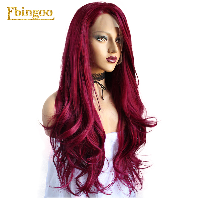 Ebingoo Hair Cap High Temperature Fiber Burgundy Long Natural Body Wave Wine Red Synthetic Lace Front