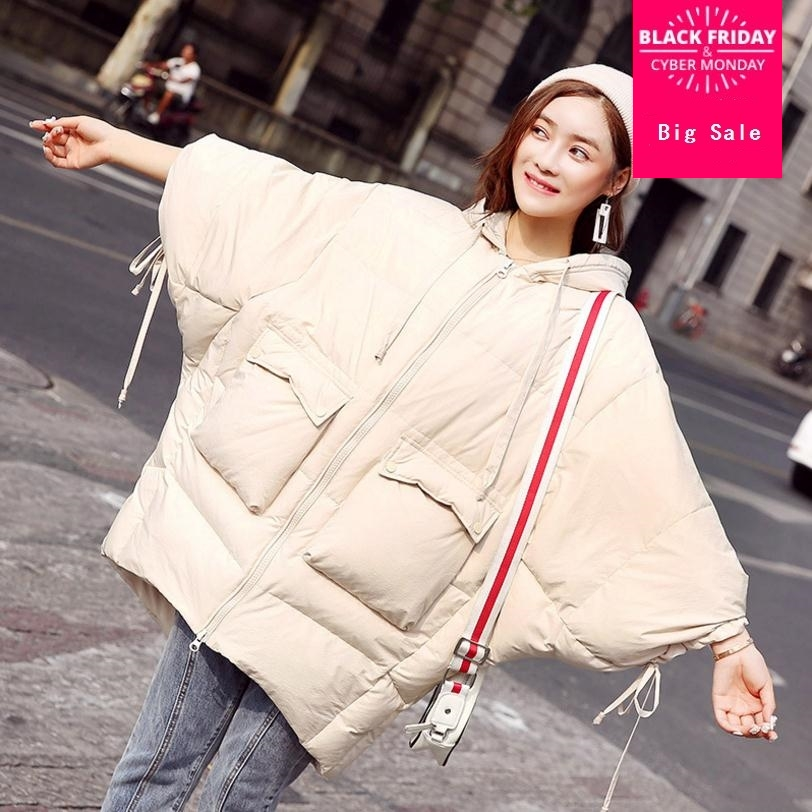 Winter fashion brand good quality 90% real duck   down     coat   female bat style big pockets thicker   down   parkas wq175