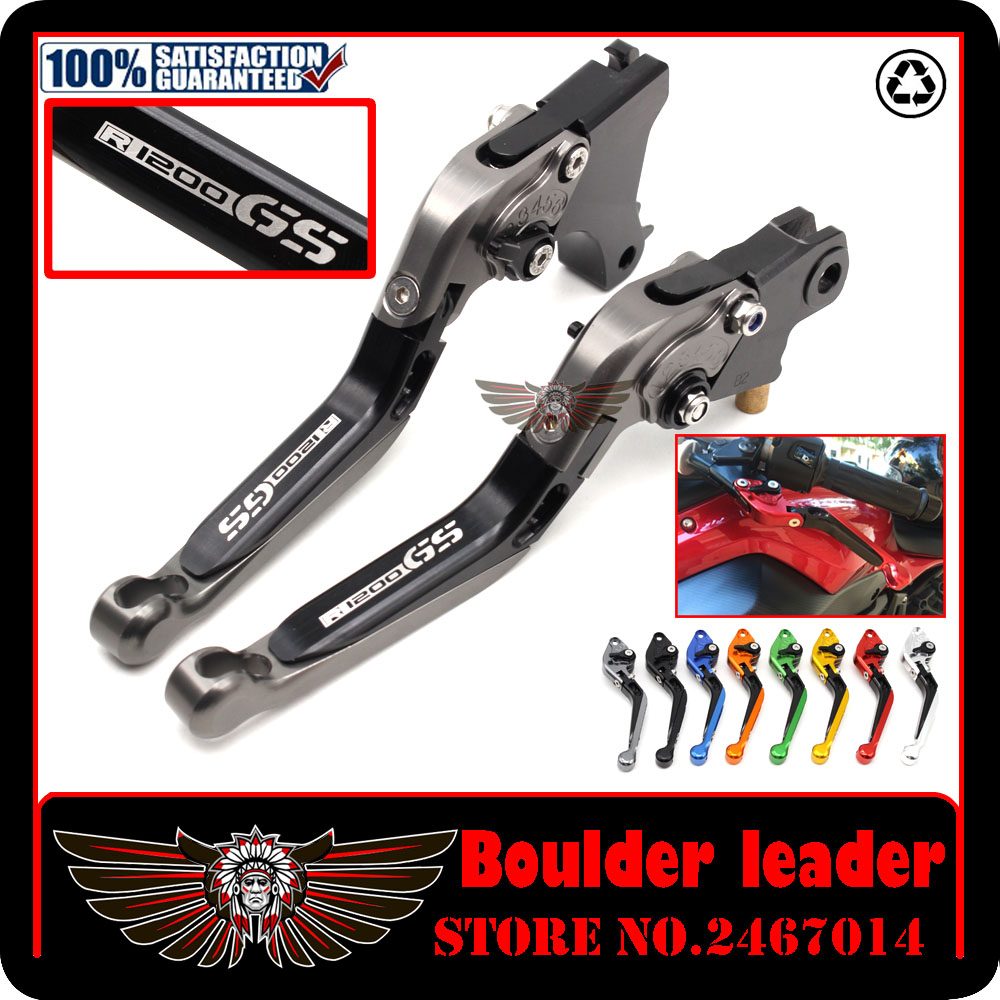 For BMW R1200GS ADVENTURE 1200 GS R1200 LOGO Silver Blue Motobike Motorcycle Adjustable Folding Extendable Brake Clutch Lever for bmw r1200 gs 13 17 r1200gs adventure 2014 2017 titanium red motorcycle adjustable folding extendable brake clutch lever