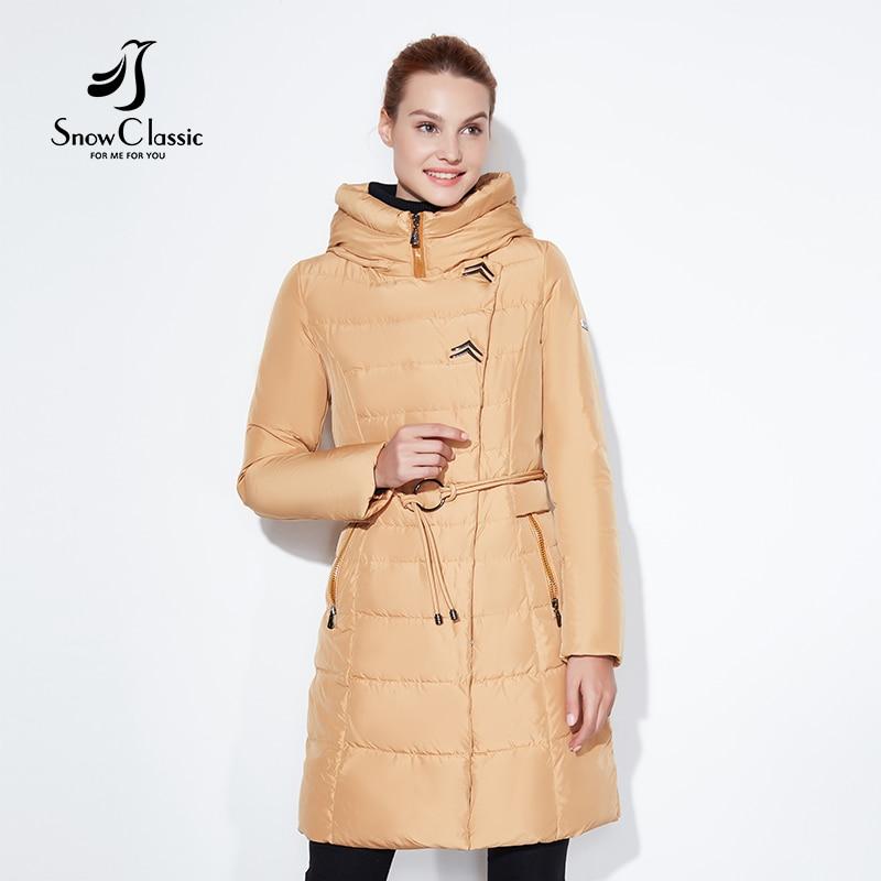 SnowClassic 2017 À La Mode femmes veste d'hiver épais Long Manteau Vestes Capot Réglable Taille solide mince Chaud Coton Rembourré