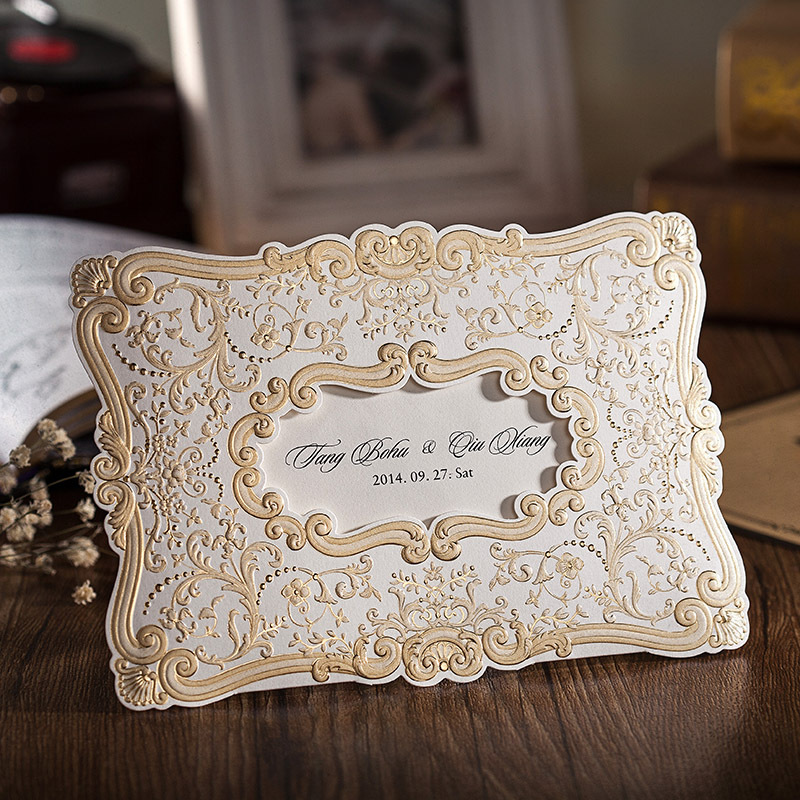 100 Pcs Blank Wedding Invitation Card Envelope Red Beige Color Paper ...