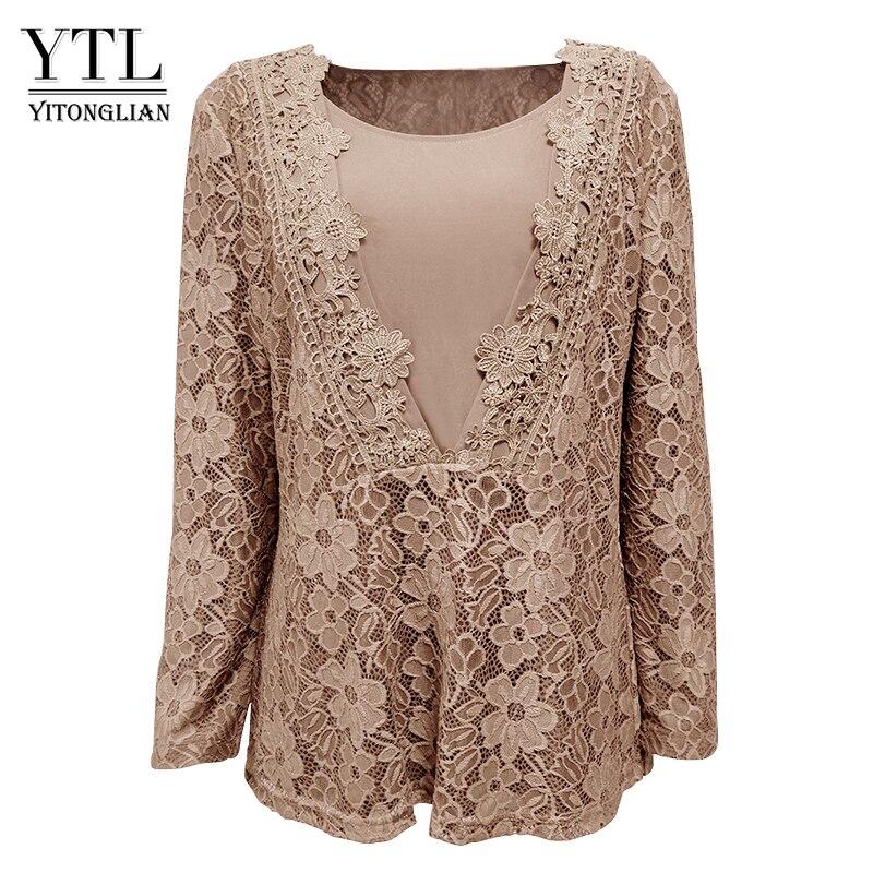YTL Autumn Women Vintage V Neck 3D Floral Guipure Lace Cardigan Long Sleeve Top Flower Crochet Bronze Plus Size Shirt 8XL H023