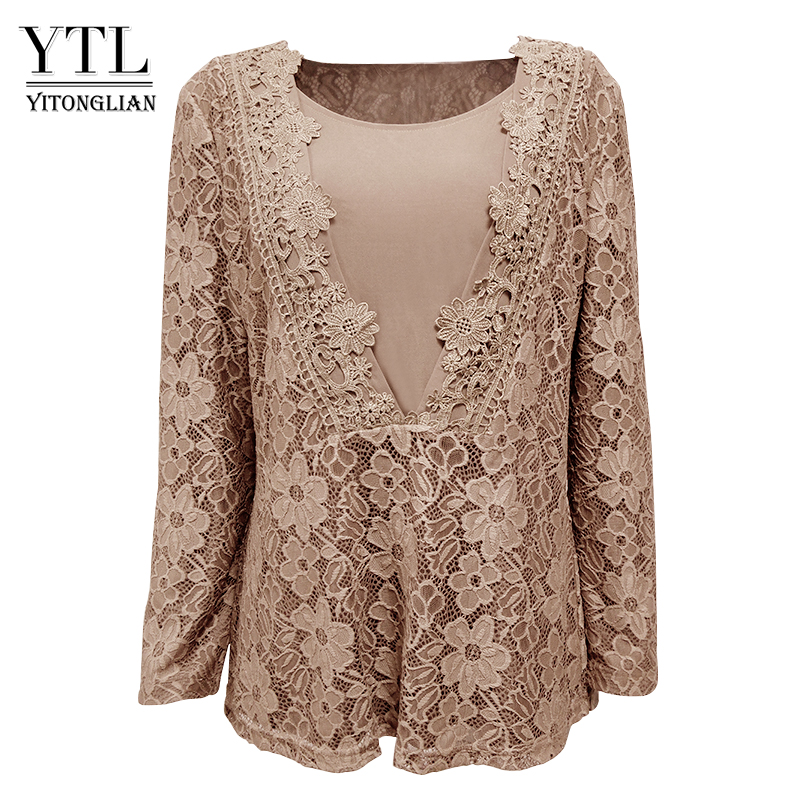 YTL Herbst Frauen Vintage V-ausschnitt 3D Floral Guipure Spitze Strickjacke Langarm Top Blume Häkeln Bronze Plus Größe Hemd 8XL H023