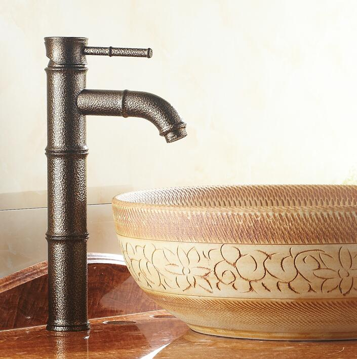 Free shipping Roman Bronze finishing Bathroom Basin sink Faucet Bamboo Style Mixer Tap Bent Spout Type good quality FES-6644