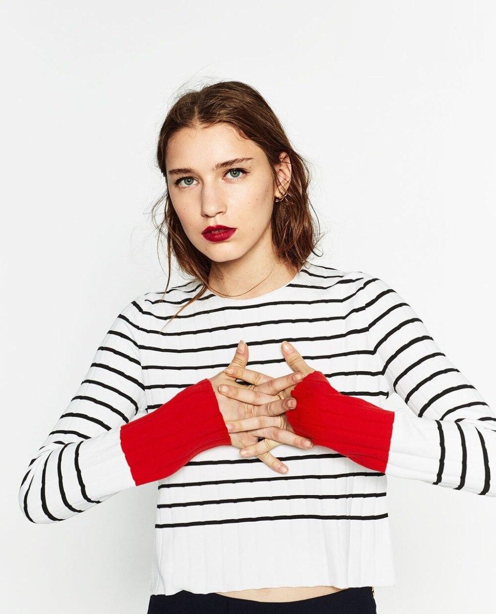 Europa Caliente o-cuello Mangas Largas Suéteres de Rayas Imprimen la Camisa Cort