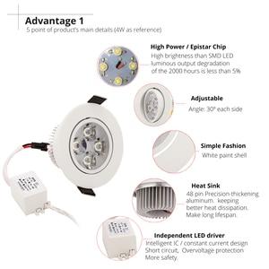 Image 5 - 20 шт./лот оптовая продажа 3 Вт 4 Вт 5 Вт 7 Вт светодиодный встраиваемый потолочный светильник коридорный белый корпус чистый/натуральный/теплый белый
