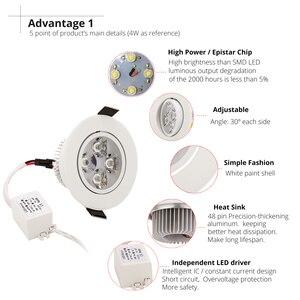 Image 5 - 20 pçs/lote atacado 3 w 4 5 7 led recesso teto downlight AC85 265V branco escudo puro/natural/branco quente
