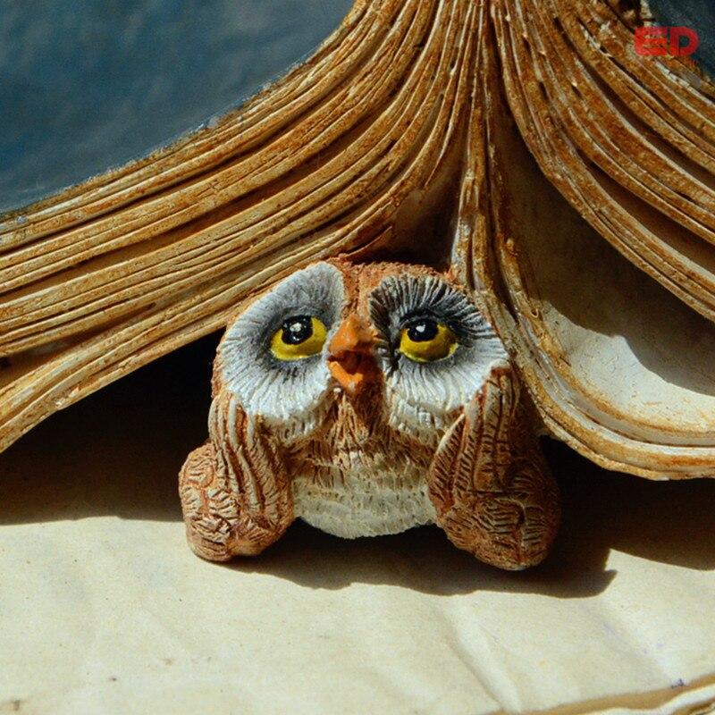 Perfect EVERYDAY COLLECTION Mini Cute Owl With Book Resin Craft Miniature Fairy Garden  Decor Animal Figurine Moss Terrarium Decoration ...