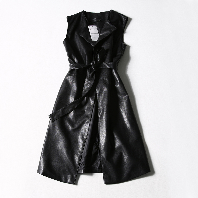 New Spring Autumn Fashion Sashes Sleeveless Faux Leather Women Elegant Slim PU Long Vests Work Wear All-Match Suedes Coat Mw435