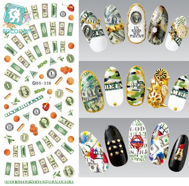 Rocooart DS338 Water Transfer Nails Art Sticker Harajuku Elements Colorful USA Dollars Nail Wraps Sticker Manicura Decal ds311 new design water transfer nails art sticker harajuku elements colorful water drops nail wraps sticker manicura decal