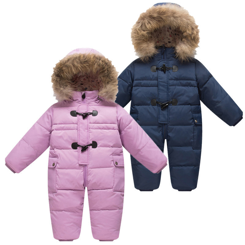 Cold Winter Baby Snowsuit Rompers Newborn Jumpsuit Overalls Boy Duck Down Coat Kids Infant Snow Wear Outerwear for Girls Clothes