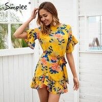 Simplee Sash Floral Print Boho Dress Women Mini Dress Elegant O Neck Ruffle Sleeve Summer Dress