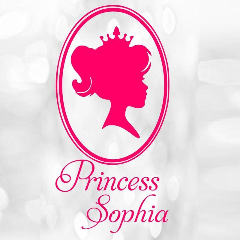 Nombre personalizado pequeña princesa Adhesivos de pared espejo ...