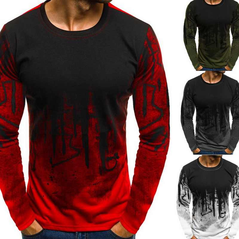 2019 Hot Sales Men Printed Tee Top Hiphop Streetwear Long Sleeve O-neck Fitness Camiseta Masculina Casual Plus Size 3XL T-shirts