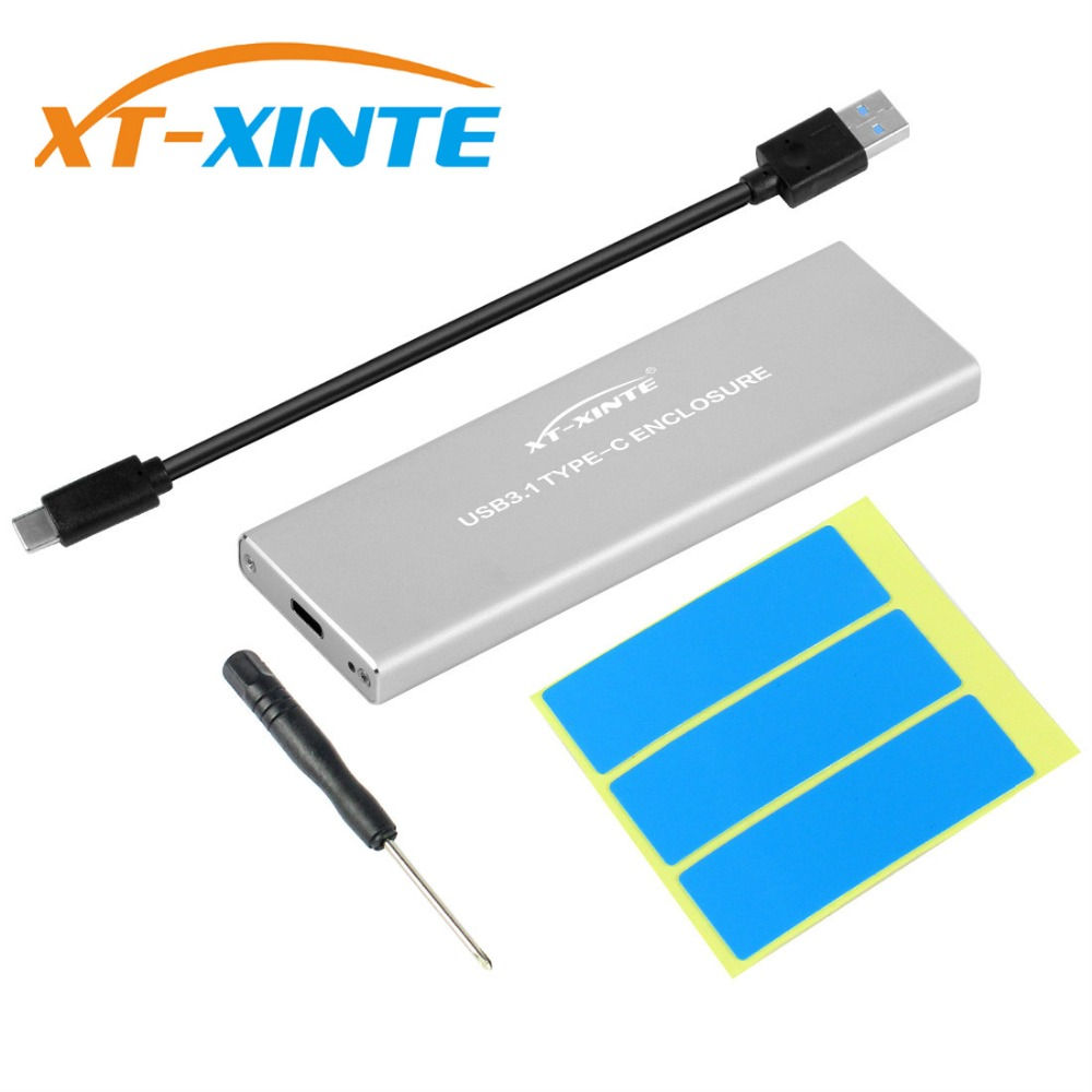 XT-XINTE NVMe PCIE USB3.1 HDD M.2 a USB tipo C 3,1 m clave SSD disco duro externo caja móvil