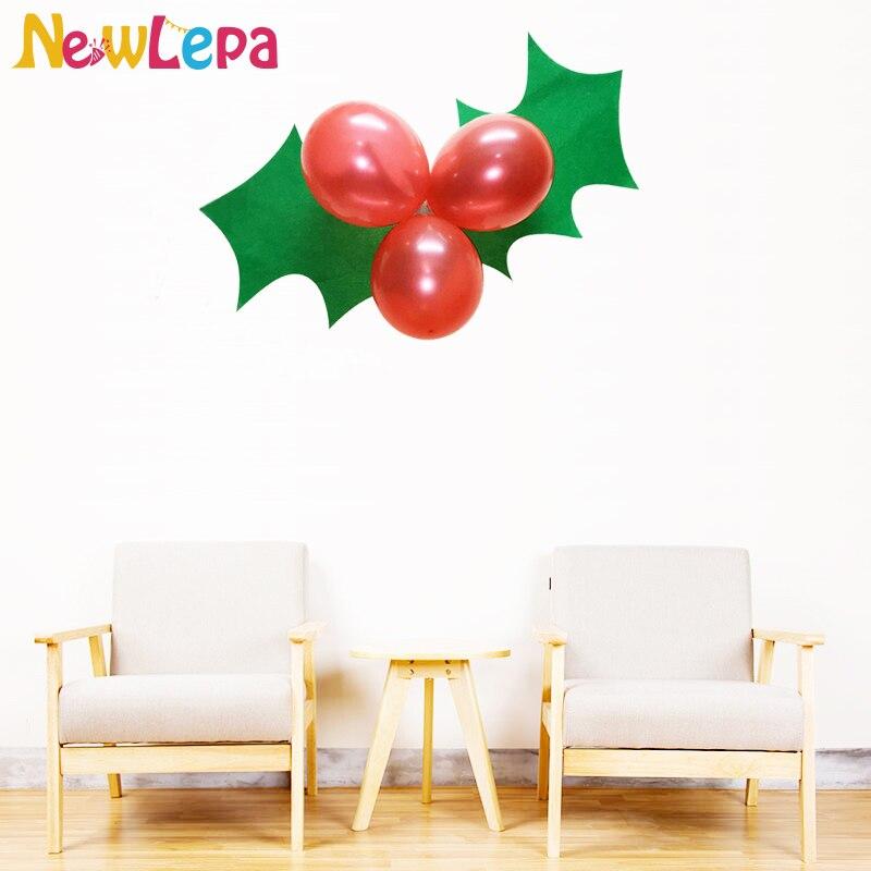 Dev Yeşil Noel Yaprak Kırmızı Balon Şenlikli Holly Dekorasyon Ev Duvar Dekor Parti Süslemeleri