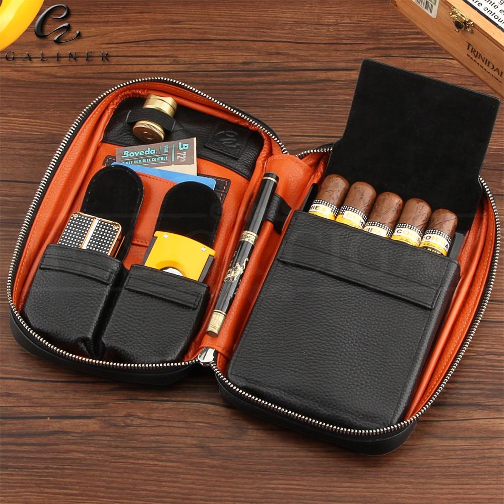 GALINER Gadgets Genuine Leather Cigar Case Travel Cigar Humidor Box Portable Humidor Bag Cigar Box Fit 5 COHIBA Cuban Cigars
