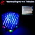 Zirrfa In Magazzino! Regalo 3D8S Mini Luce Cubeeds Blu Con Telecomando 8 8x8x8 LED Spettro Musicale, Kit Fai Da Te Elettronico