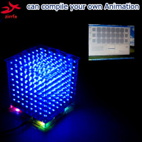 zirrfa In stock! Gift 3D8S mini Light cubeeds blue with remote 8 8x8x8 LED Music Spectrum,electronic diy kit