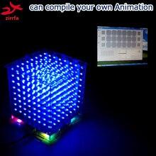 Zirrfa En stock! regalo cubeeds 3D8S mini Luz azul con mando a distancia 8 8x8x8 LED Espectro de la Música, electrónica diy kit