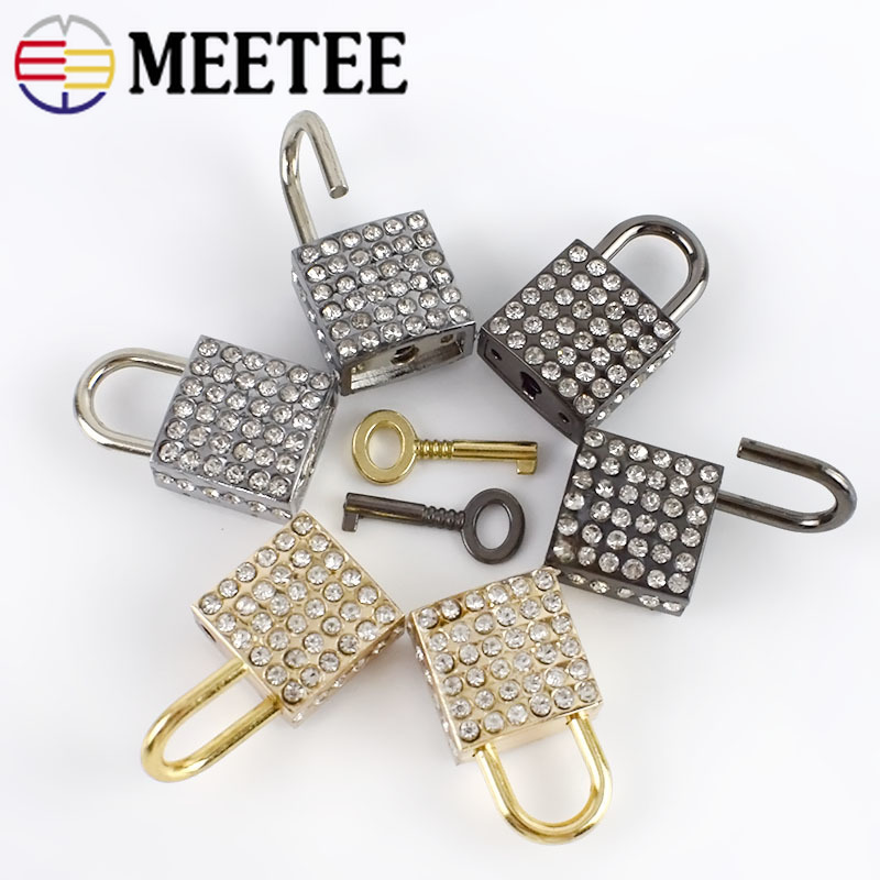 Meetee 2/5/10pcs 23*36mm Metal Rhinestone Square Lock Clasp Buckle DIY Luggage Bag Decorative Padlock Hardware Craft Accessories