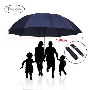 130CM Big Top Quality Umbrella Men Umbrella Rain Woman Windproof Large Umbrella Male Women Sun 3 Folding Umbrella Big Parapluie