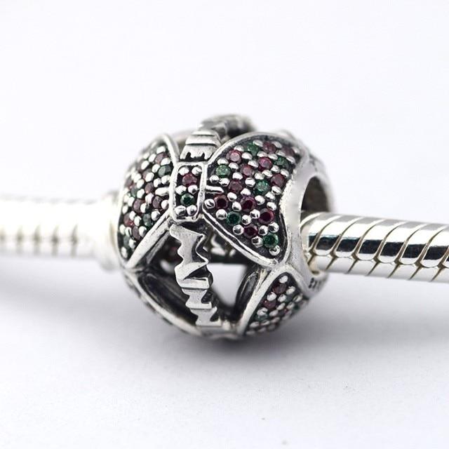 Minnie arco contas de cristal fit pandora encantos pulseiras bijouterie mulheres disny prata 925 original diy esterlina-prata-jóias
