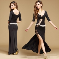 New Hollow Sexy Belly Dance Skirt Direct Selling Oriental Dance Costumes Women Belly Split Fork Dress