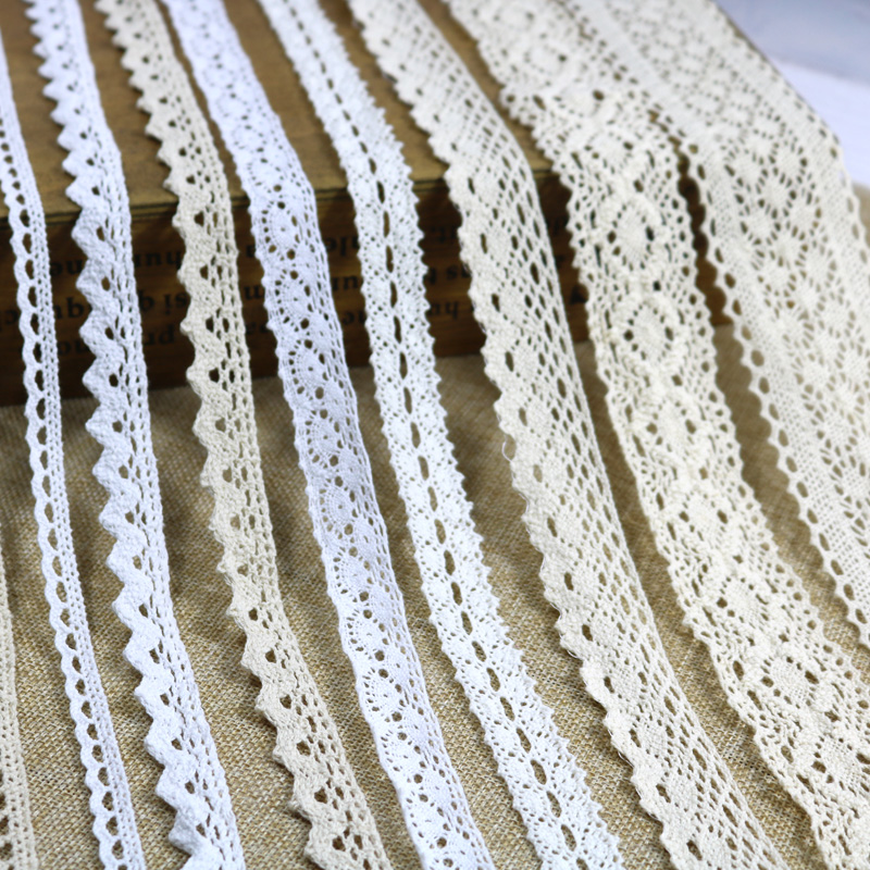 Cotton Lace Ribbon Beige White Black 5Yards DIY Handmade Wedding Party Craft Gift Packing Patchwork Cotton Crocheted Lace Ribbon