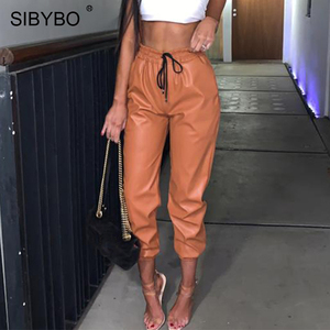 Image 2 - SIBYBO High Waist PU Leather Casual Pants Women Fashion Drawstring Pockets Pencil Pants Solid Streetwear Autumn Women Trousers