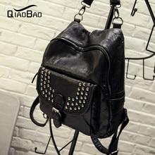 QIAOBAO 2017 женщины нью винтаж повседневная новый стиль заклепки кожа школьные сумки ofertas известный дизайнерский бренд рюкзак для девочек