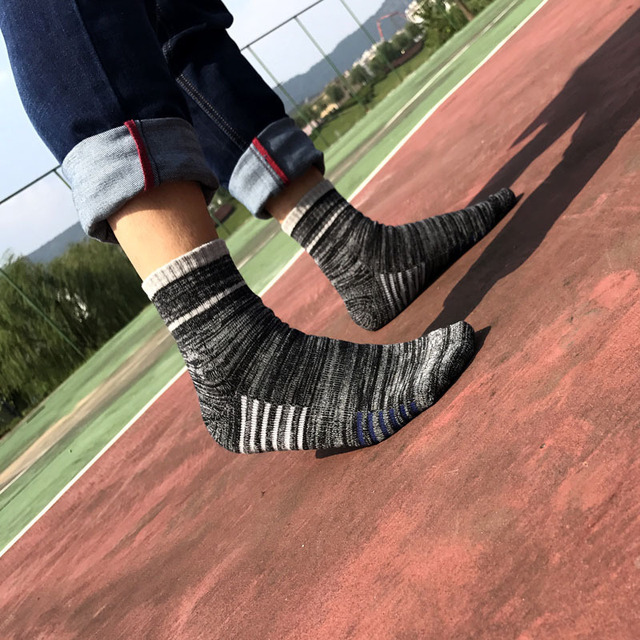 PEONFLY High Quality Man Vertical Stripes Socks Casual Business Short Socks Male Solid Color Striped Breathable Cotton Socks