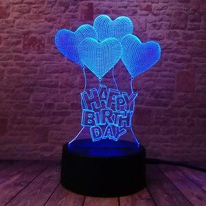 Image 4 - Novo feliz aniversário amor coração balões 3d visual led rgb noite lâmpada de mesa ilusão humor escurecimento 7 cores incrível