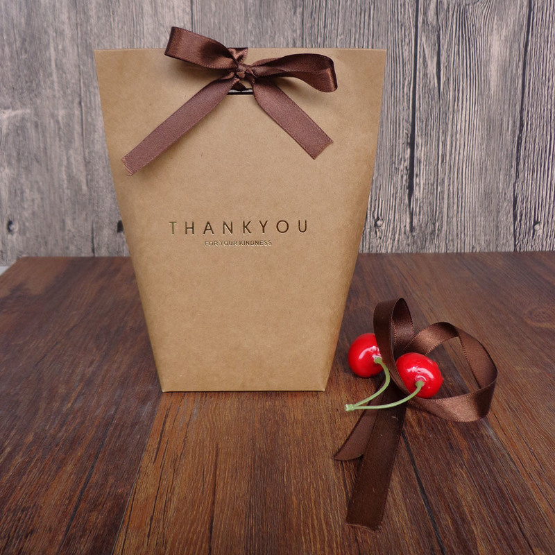 Bronzing Design Thank You Letter Candy Boxes with Ribbons 50pcs for Wedding Birthday Party Decoration Guest Favor Gifts AQ089 in Gift Bags Wrapping Supplies from Home Garden