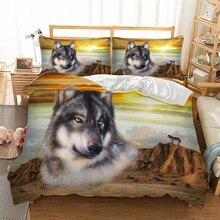 ثلاثية الأبعاد الذئب طقم سرير حاف الغطاء المفارش التوأم الملكة الملك الحجم 3 قطعة المنسوجات المنزلية دروبشيب