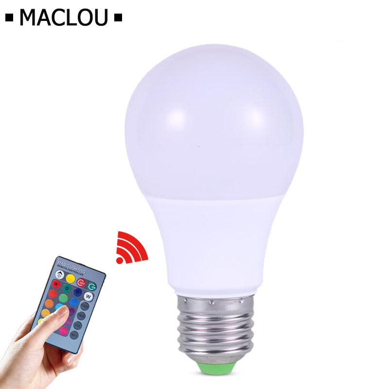 RGB LED Bulbs Light E27 3W 5W 7W LED Dimmable Bulb Multicolor Changeable+IR Remote Controller RGB Lampada Indoor Lighting Lamp