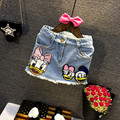 New 2017 Children Summer Skirt  Girls Jeans Skirt Cartoon Fashion Paillette Skirt Baby Soft Demin Skirt Two Styles, 2-7Y