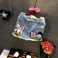 New 2017 Children Summer Skirt  Girls Jeans Skirt Cartoon Fashion Paillette Skirt Baby Soft Demin Skirt Two Styles, 2-7Y
