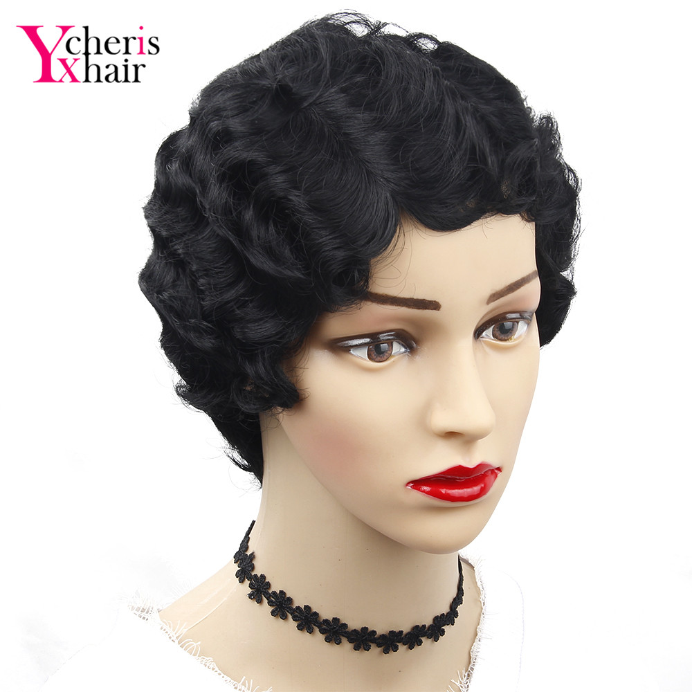 YXCHERISHAIR Short Synthetic Finger Wave Wigs High Temperature Fiber Blonde Synthetic Curly Cosplay Wig